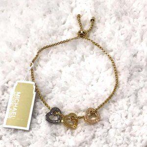 NWT - Michael Kors Tri-Tone Heart Slider Bracelet
